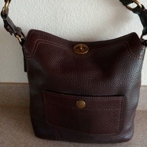 COACH Legacy Pebbled Brown Leather w/Brass-EUC
